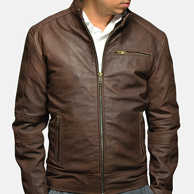 waxy finish leather jacket