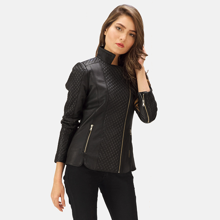 Aniline leather jacket for women
