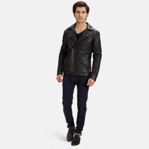 This Black Studded Leather Biker Jacket gives you a minimalist look with a bit of bling.