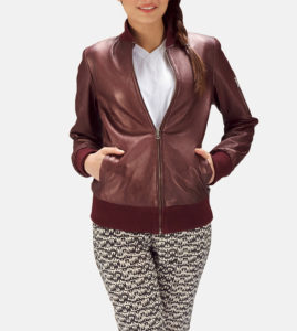Maroon leather bomber jacket
