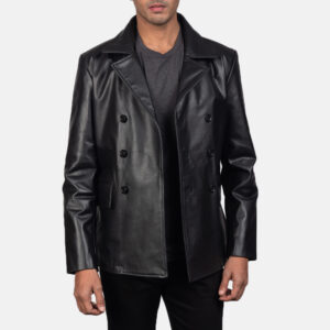 Black Leather Naval Peacoat