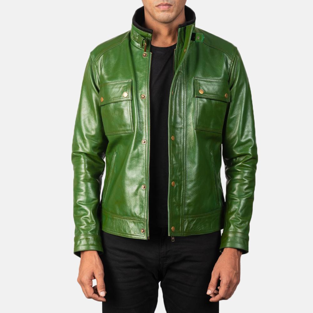 Green Biker Leather Jacket