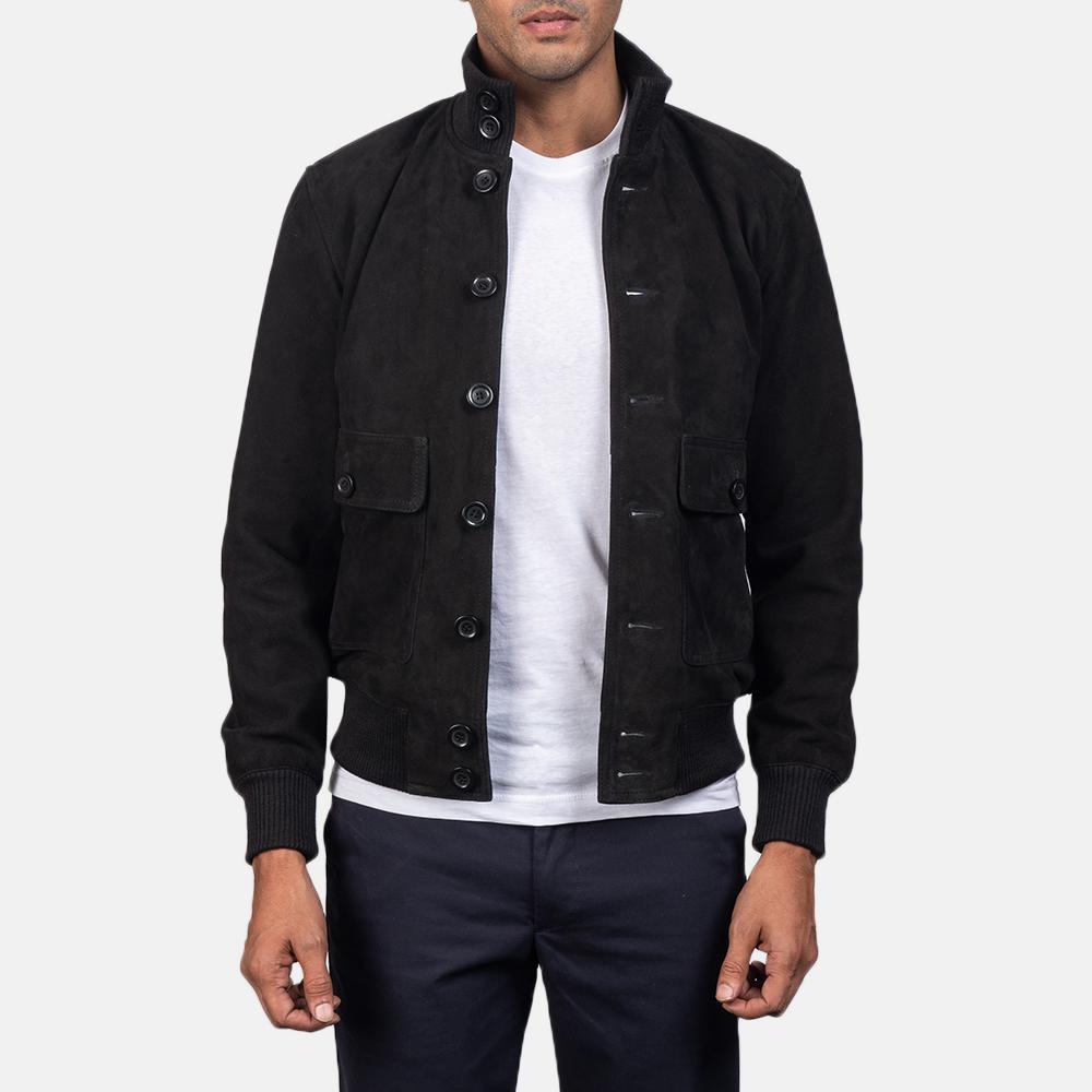black bomber suede jacket