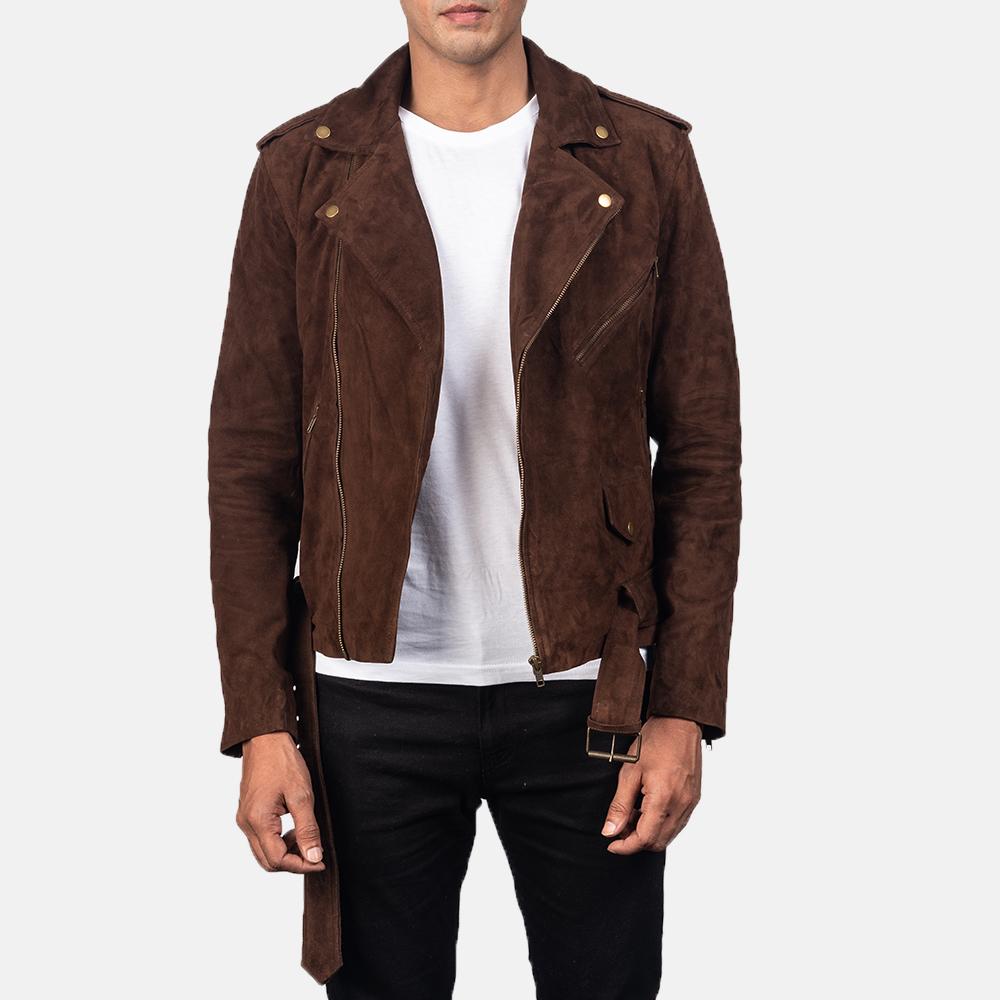 mocha biker brown suede jacket