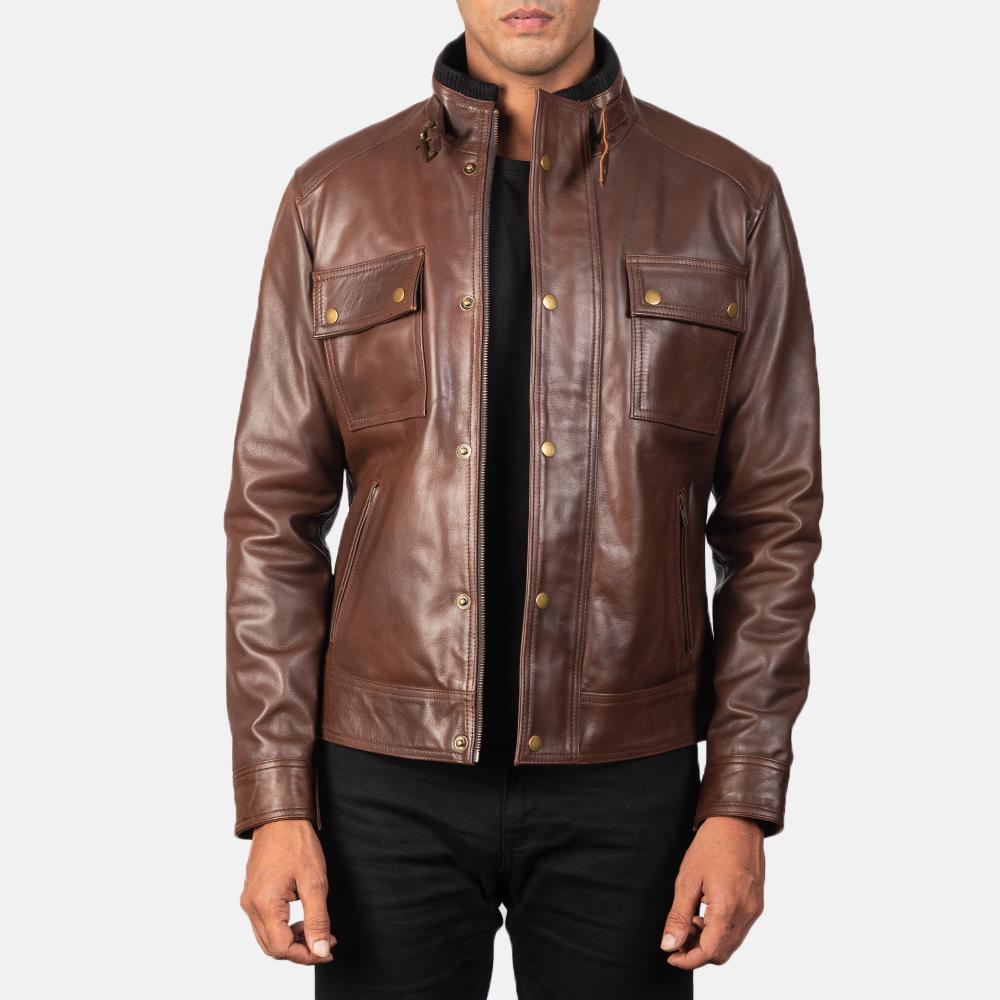 brown cowhide leather jacket
