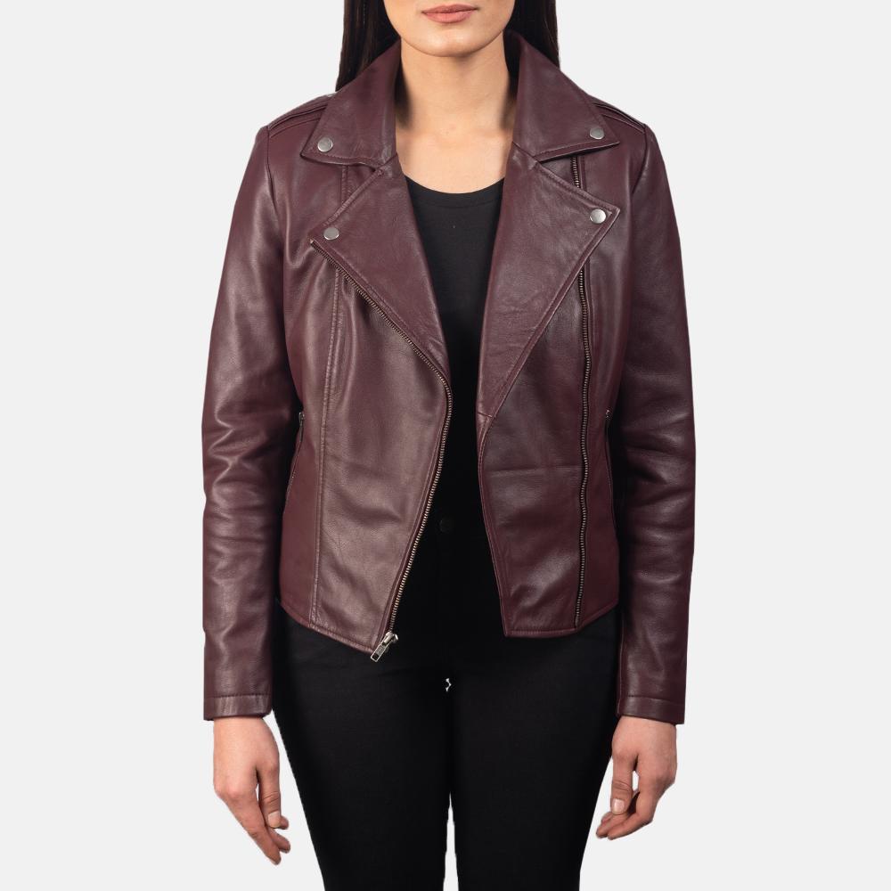 Flashback-Maroon-Leather-Biker-Jacket-For-Women
