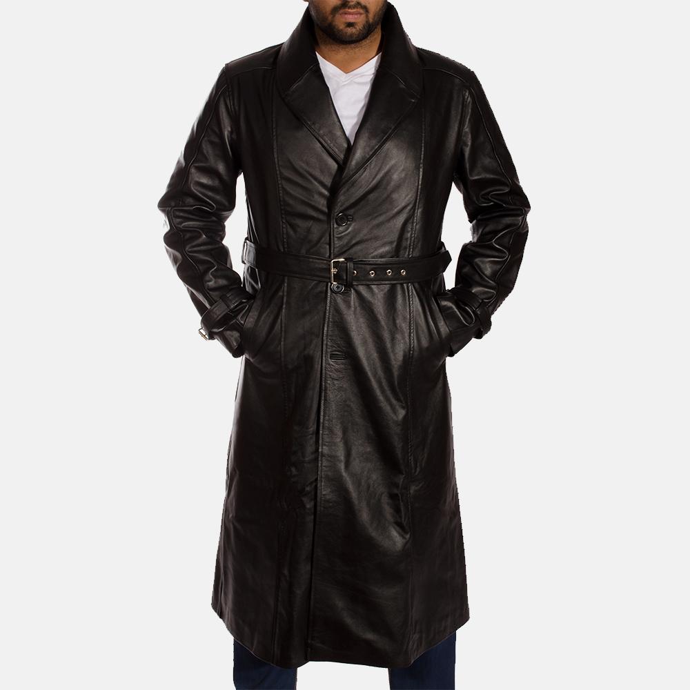 Hooligan Black Leather Trench Coat for Men