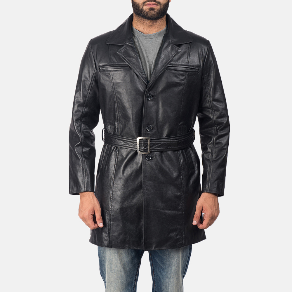 Jordan Black Leather Trench Coat