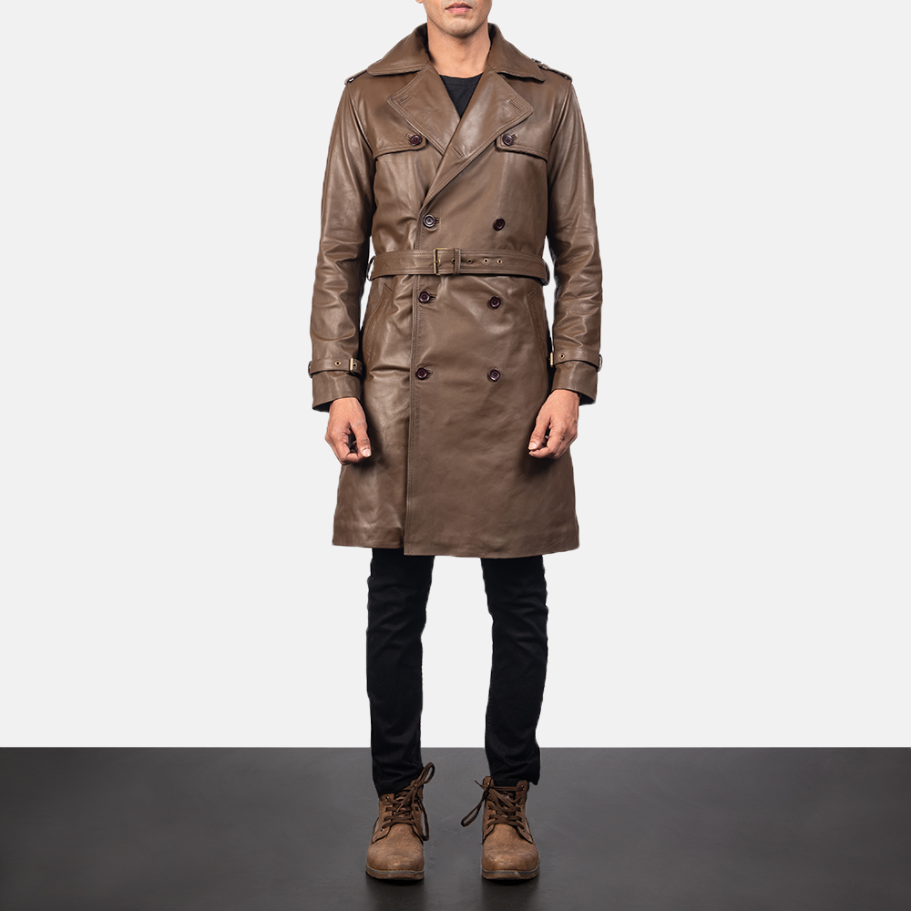 Royson Brown Leather Trench Coat for Men.