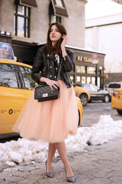 cropped jacket with Maxi Tulle