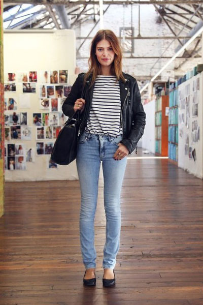 jacket with striped tshirt jeans