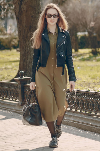 cropped leather jacket with dress