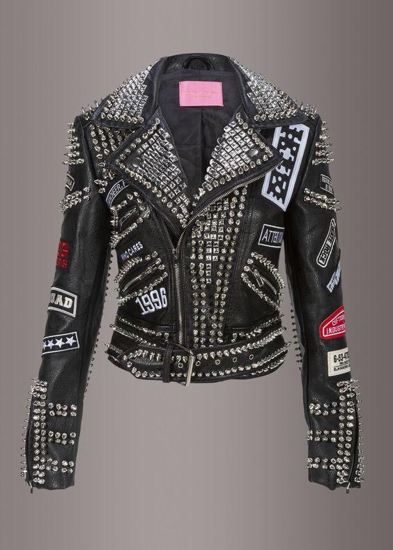 studded black unisex leather jacket