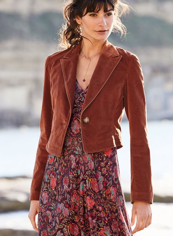 floral print dress with a brown suede jacket for women