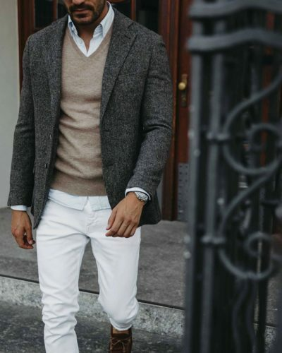 Layering a sweater and collared shirt with a Sports Jacket