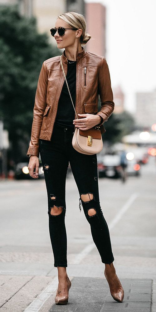 streetwear outfit for women with a brown leather jacket