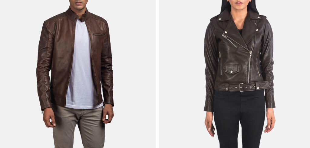 brown leather jacket for men and women