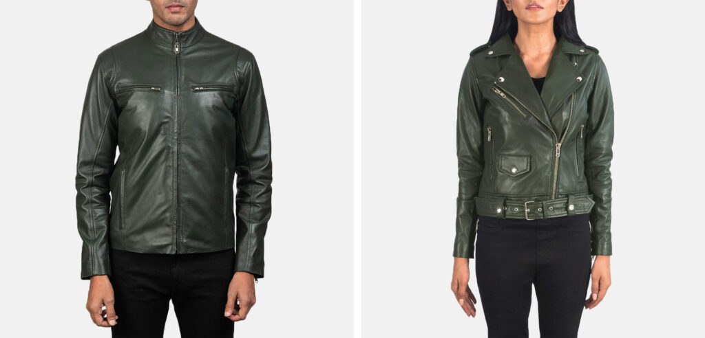 green leather jacket for men and women