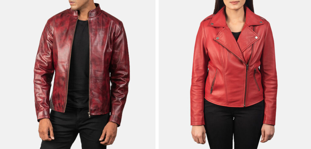 red leather jacket for men and women