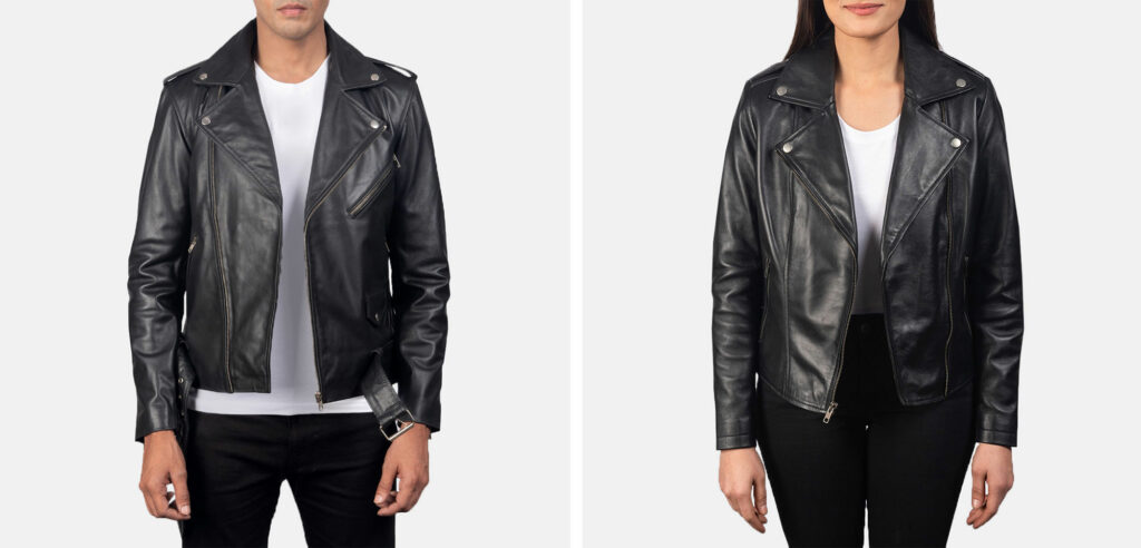 black leather jacket for men and women