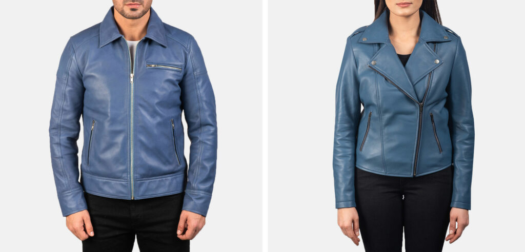 blue leather jacket for men and women