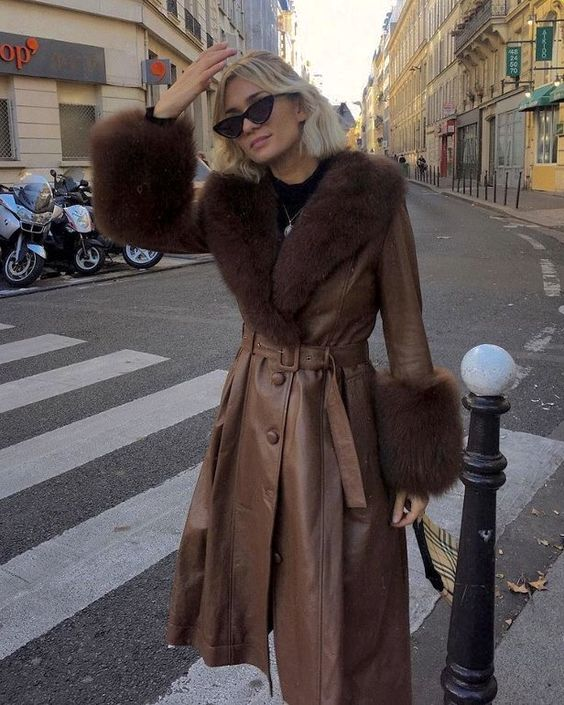 brown leather trench coat for women with a fur collar