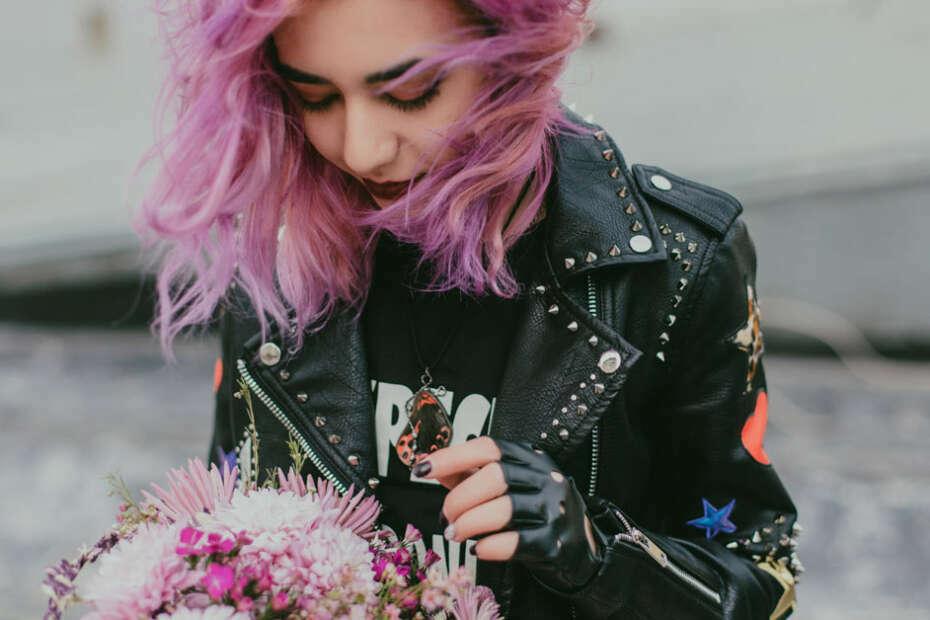 punk fashion black leather jacket