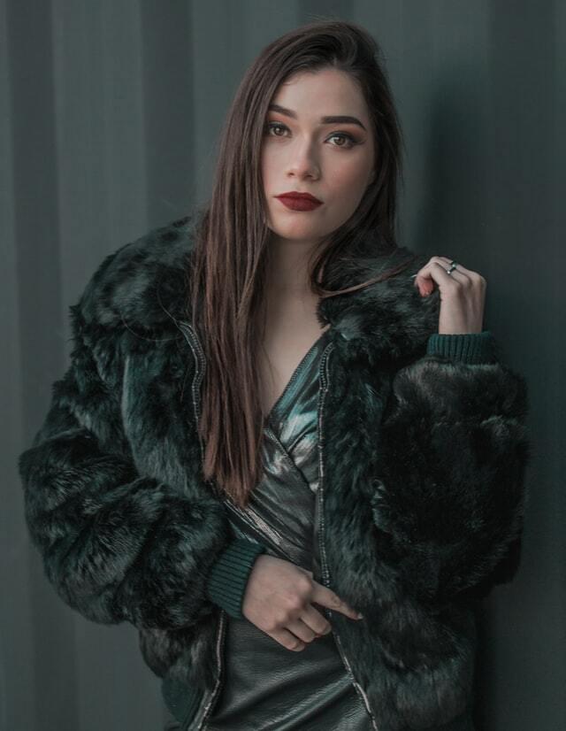 charcoal grey women's faux fur bomber jacket
