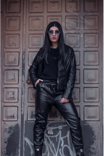 black faux leather pants with black leather jacket