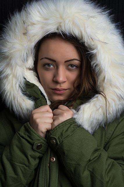 women's green bomber jacket with fur hood