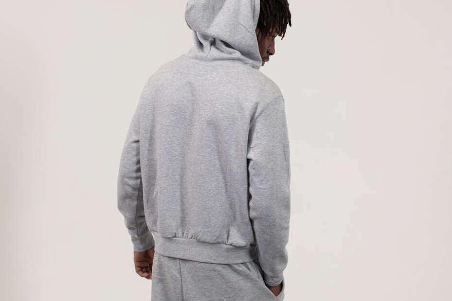 wearing a hoodie