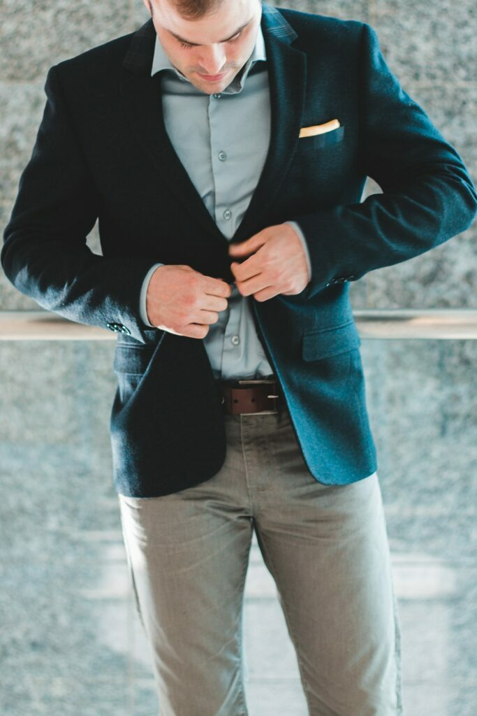 business casual outfit with grey jeans