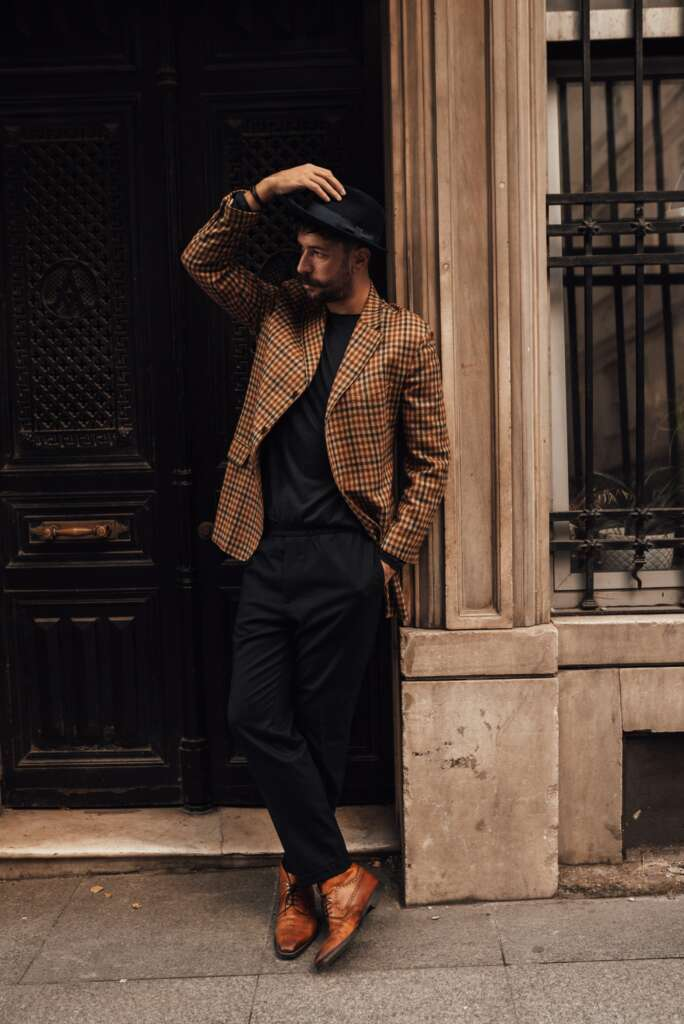 smart casual style with a sports coat and black trousers