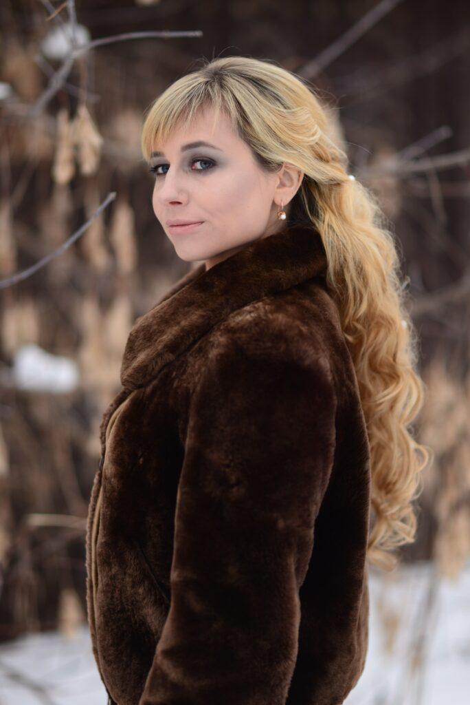 women's brown fur bomber jacket