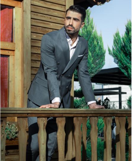 grey bespoke suit jacket for men