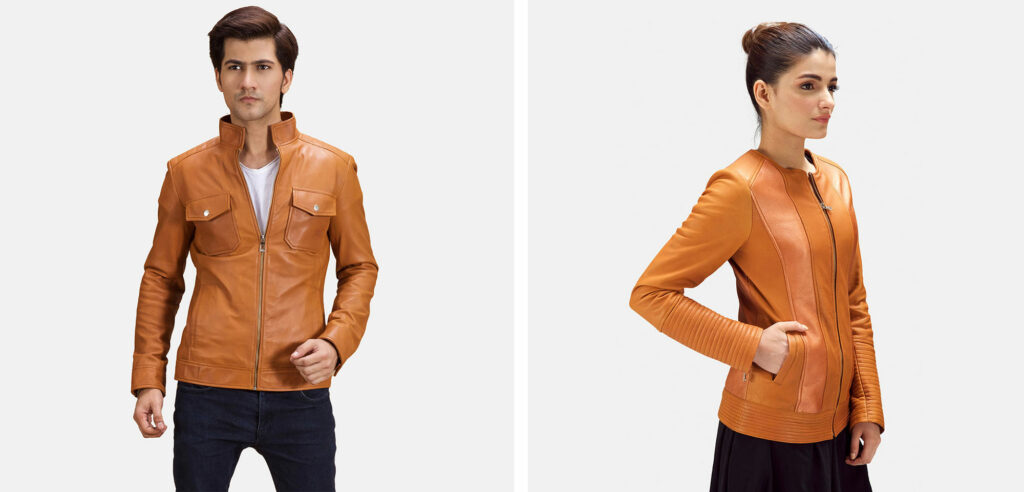 tan leather jacket for men and women