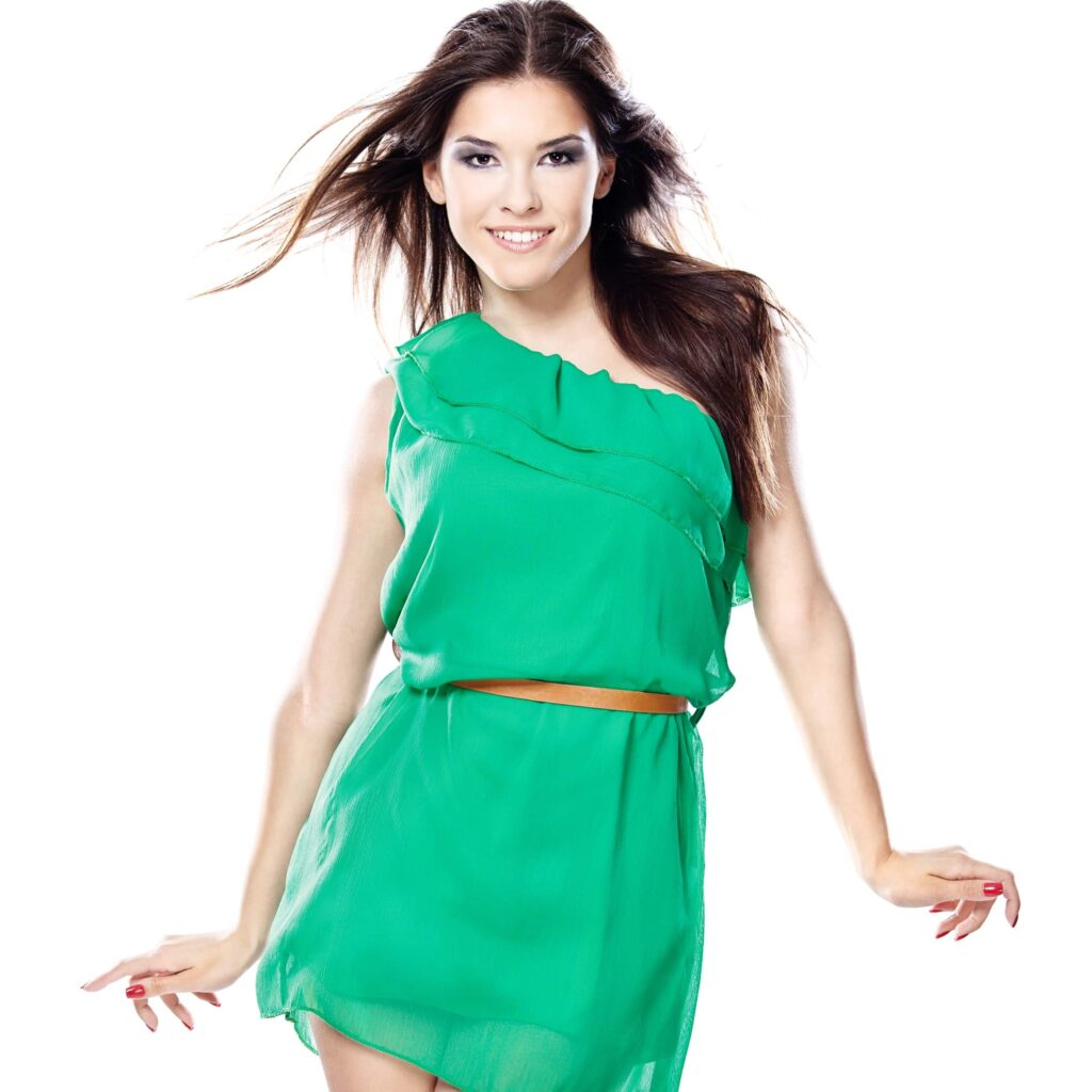woman wearing a green one shoulder blouson dress