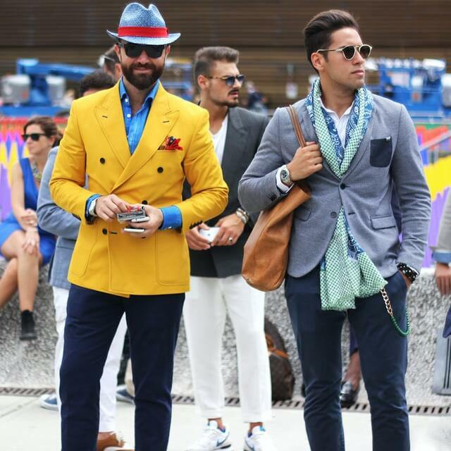 two men wearing Italian style outfits