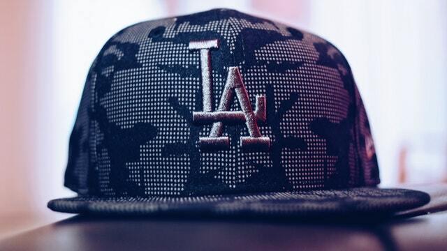 a snapback hat with LA logo