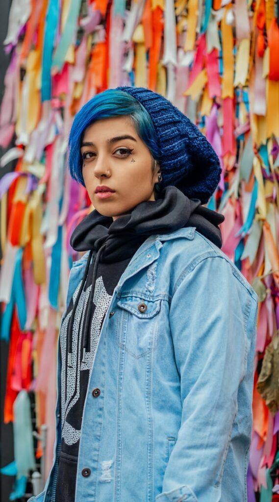 girl wearing a blue slouchy beanie